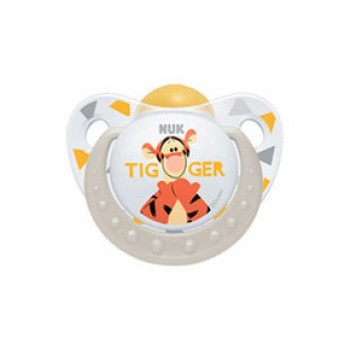 Nuk Trendline Disney Πιπίλα καουτσούκ με κρίκο 6-18 μηνών Τιγρης Ασπρη 1 τεμάχιο