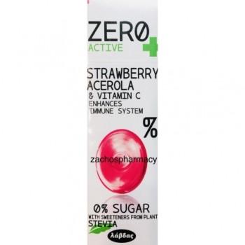 Zero Active Καραμέλες με Γεύση Φράουλα Acerola & Vit c 0% Ζάχαρη (Stevia)