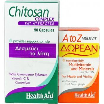 Health Aid Chitosan 90 κάψουλες + A to Z Multivit 30 ταμπλέτες 90 κάψουλες