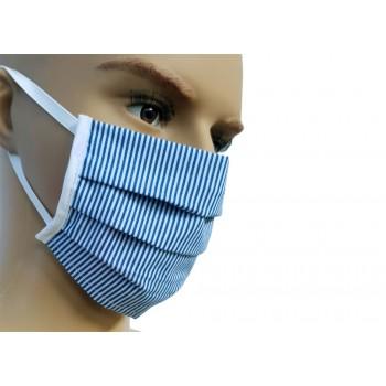 Μάσκα Προσώπου Υφασμάτινη Πλενόμενη Πολλαπλών Χρήσεων Μπλε Ριγέ 1τμχ