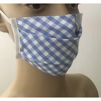 Παιδική Μάσκα Προσώπου Υφασμάτινη Πλενόμενη Πολλαπλών Χρήσεων Μπλέ Ριγέ 1τμχ
