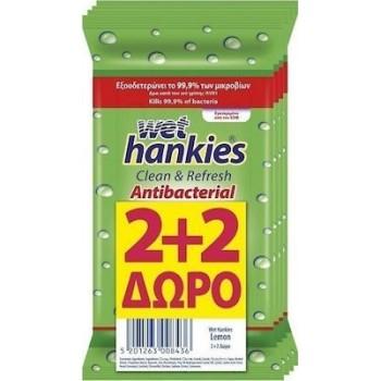 ΜΕΓΑ Wet Hankies Clean & Refresh Antibacterial Lemon 60τμχ