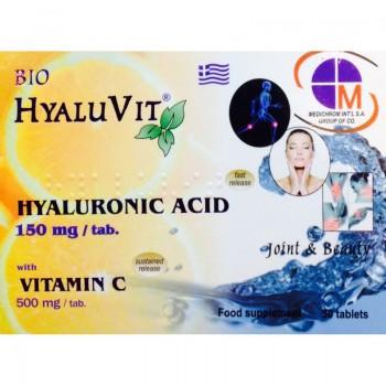 Bio HyaluVit 150 mg Υαλουρονικό Οξύ & 500 mg Βιταμίνη C x 30 Tabs