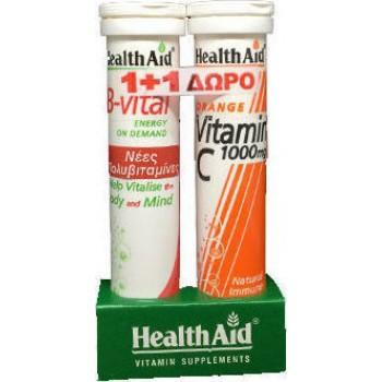 Health Aid B-Vital Βερύκοκο + Vitamin C 1000mg 20+20 αναβράζοντα δισκία Πορτοκάλι