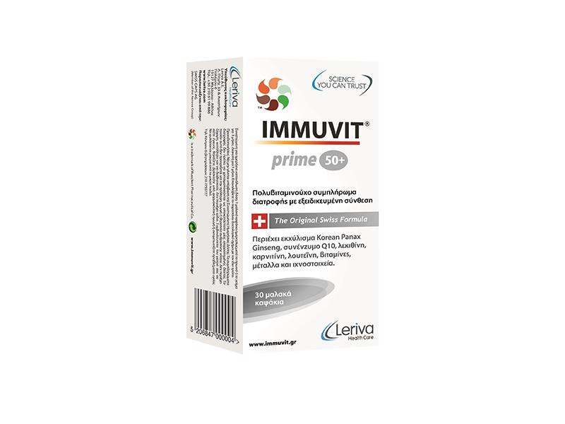 Leriva Health Care Immuvit Prime 50+ Multivitamin, Πολυβιταμινούχο Σκεύασμα 30 καψ.