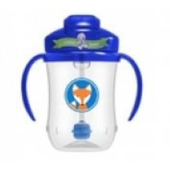 Dr. Brown's Κύπελλο με Εύπλαστο Καλαμάκι 270ml Μπλε Αλεπού