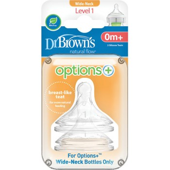 Dr. Brown's Θηλές για Μπιμπερό Options+ με Φαρδύ Λαιμό 0-3m 2τμχ