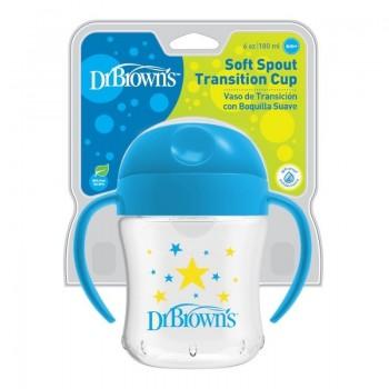 Dr. Brown's Κύπελλο με Καπάκι & Λαβές Μπλε 180ml, 6m+
