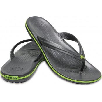Crocs Σαγιονάρα Ανδρική 11033-0Α1 Γκρι-Πράσινη Ρίγα