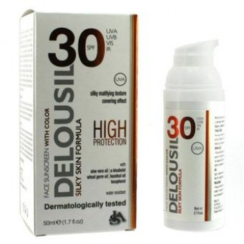 Delousil Silky Skin Formula SPF30 With Color Αντιηλιακή Κρέμα Προσώπου Με Χρώμα 50ml