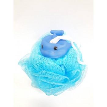 Labico  Bath Body Puff Σπόγγος Μπάνιου Γαλάζιος Με Δελφίνι
