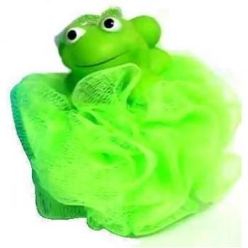 Bath Body Puff Labico Παιδικός Σπόγγος Μπάνιου σε Πράσινο Χρώμα Με Βατραχάκι