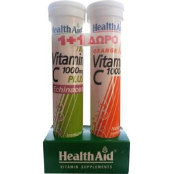 Health Aid Vitamin C 1000mg Plus Echinacea + Vitamin C 1000mg 20+20 αναβράζοντα δισκία