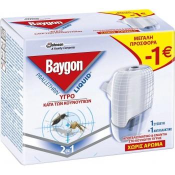Baygon Υγρό Αντικουνουπική Συσκεύη 45 Νυχτών + 1 Ανταλλακτικό (27ml)