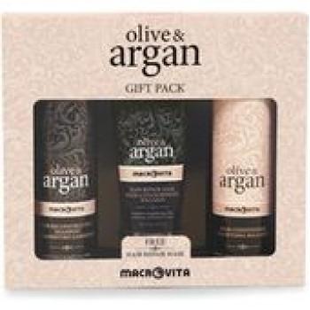 Macrovita Olive & Argan Αναδομητικό Σαμπουάν 200ml, Γαλάκτωμα Μαλλιών 200ml & Μάσκα Επανόρθωσης Μαλλιών 100ml