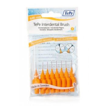 TePe Interdental Brush Μεσοδόντιο βουρτσάκι 1 μέγ. (0.45mm) Πορτοκαλί 8τεμ.